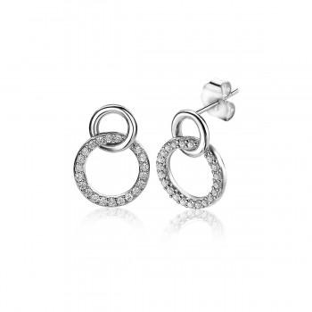 ZINZI zilveren oorknoppen 2 rondjes in elkaar 1x zirkonia ZIO1782 - 613810
