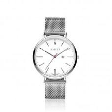 ZINZI Retro Watch silver wijzerplaat wit mesh band ZIW406M