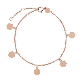 CLUSE Essentielle Rose Gold Hexagon Charms Chain Bracelet CLJ10018 - 613637