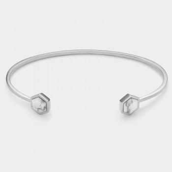 CLUSE Idylle Silver Marble Hexagons Open Cuff Bracelet CLJ12003 - 612447