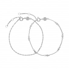 CLUSE Essentielle Silver set of Two twisted and Hexagon Chain Bracelets CLJ12019 - 613638