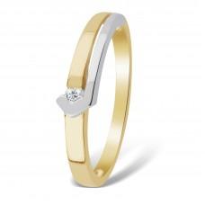 14 krt bicolor gouden ring met diamant 1-0.03crt H/SI - 608288
