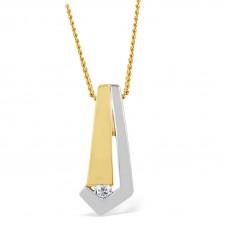 14 krt bicolor gouden hanger met diamant 1-0.03crt H/SI - 608285