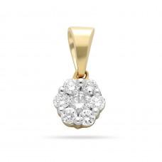 14 krt bicolor gouden hanger met diamant 7-0.15crt H/SI - 612319