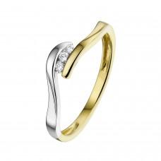 14 krt bicolor gouden ring met diamant 3-0.04crt H SI - 608552